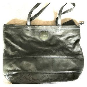 COACH soft gray metallic leather purse